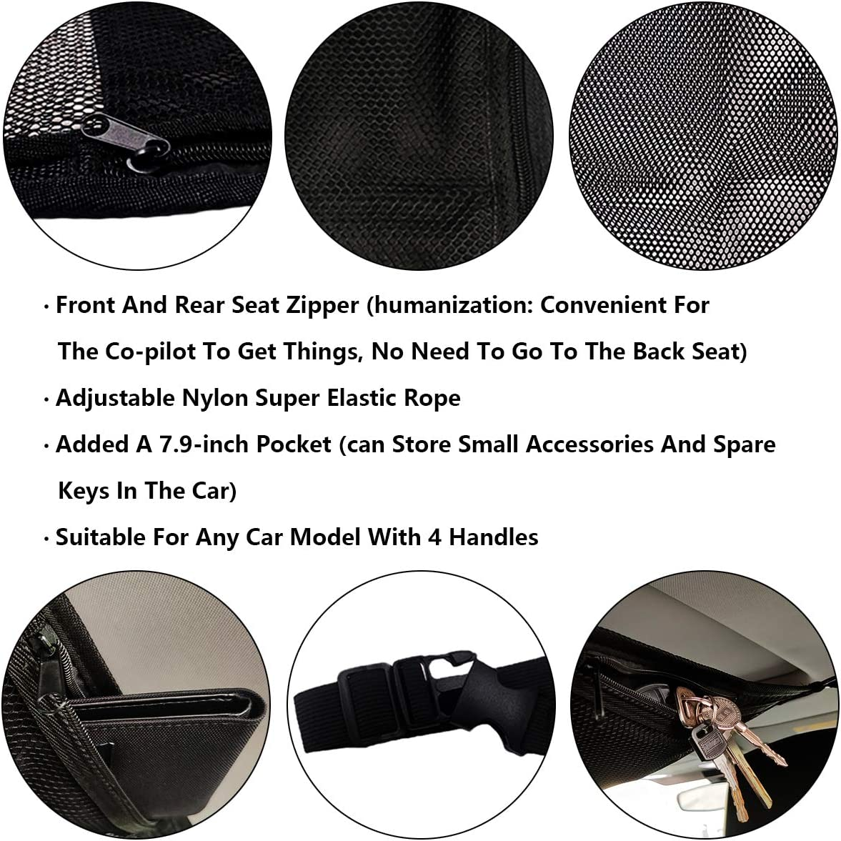 Front and Back Zipper and and 7.9inches Small Pocket Car Roof Long Trip Storage Bag Tent Putting Quilt Childrens Toy Towel Sundries Interior Accessories YiDEXIN SUV Ceiling Cargo Net Pocket