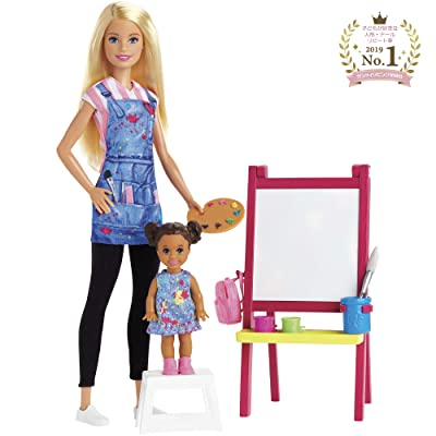 ​Barbie Art Teacher Playset with Blonde Doll, Toddler Doll, Easel with Color-Change Feature, Palette, Brush, Containers, Step Stool for Ages 3 and Up: Toys & Games