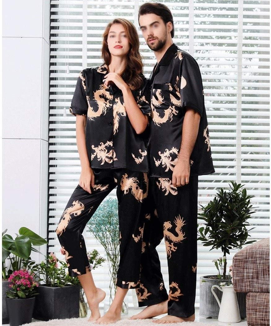 AXIANQIPJS Pijamas De Satén para Parejas Conjunto Pijamas De ...
