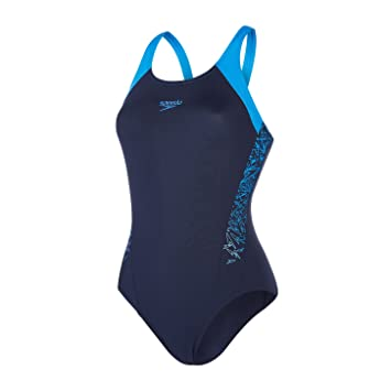 Speedo Damen Boom Splice Muscle Back Badeanzug, Blau (Navy Neon Blue), 993e8bd0e6