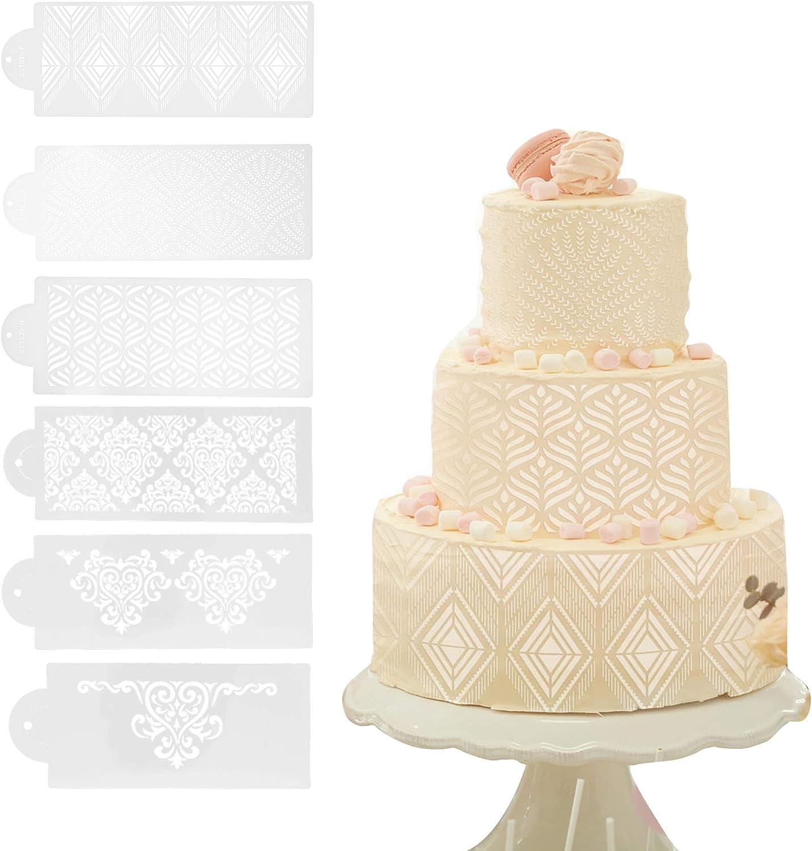 EOPER 6 Pieces Cake Decorating Stencils Powdered Sugar Sieve Template Set Plastic Side Baking Templates Mould Hollow Lace Flower Edge Molding Mesh Stencil Cookie Fondant Dessert Decorating Molds
