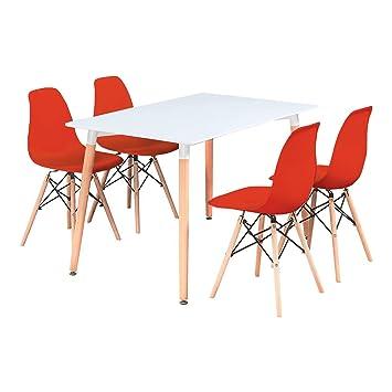 P N Homewares Table De Salle A Manger Blanche En Bois 4 Chaises