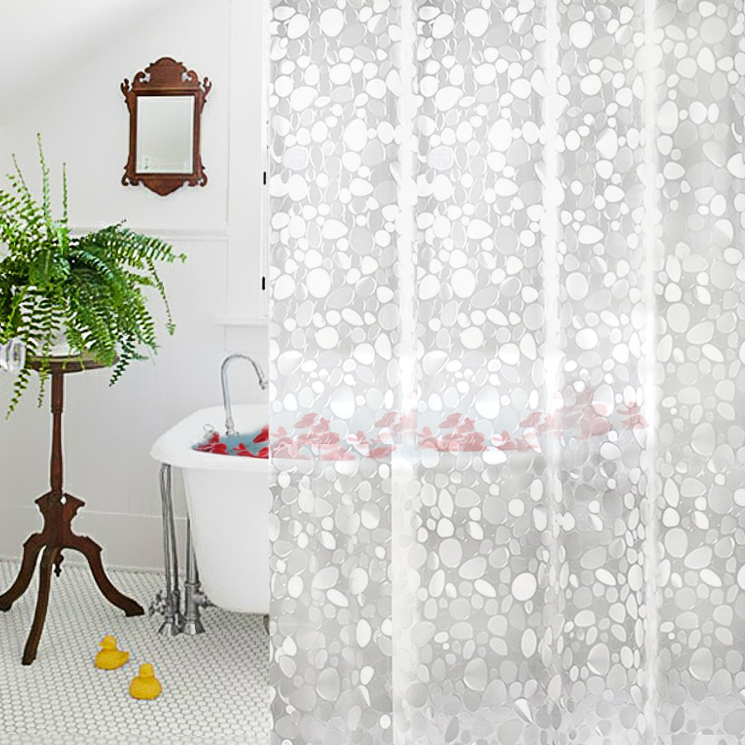 Aoohome 36x72 Inch Shower Curtain Liner Mildew Resistant, EVA Shower Curtain 3D Cobblestone Pattern with Bottom Magnets, Heavy Duty, Waterproof & Mildew Resistant, Clear