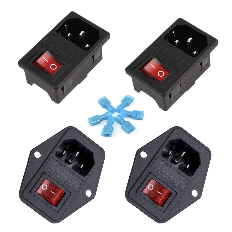 Gadgeter 4 Pcs inlet Module Plug Fuse Switch Male Power Socket 10A 250V 3 Pin IEC320 C14 …