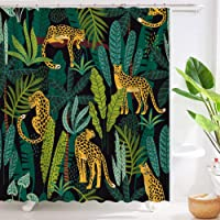 Roslynwood Shower Curtain Set Bathroom Polyester Fabric Waterproof Curtains Women Leopards and Tropical Leaves Design 72…