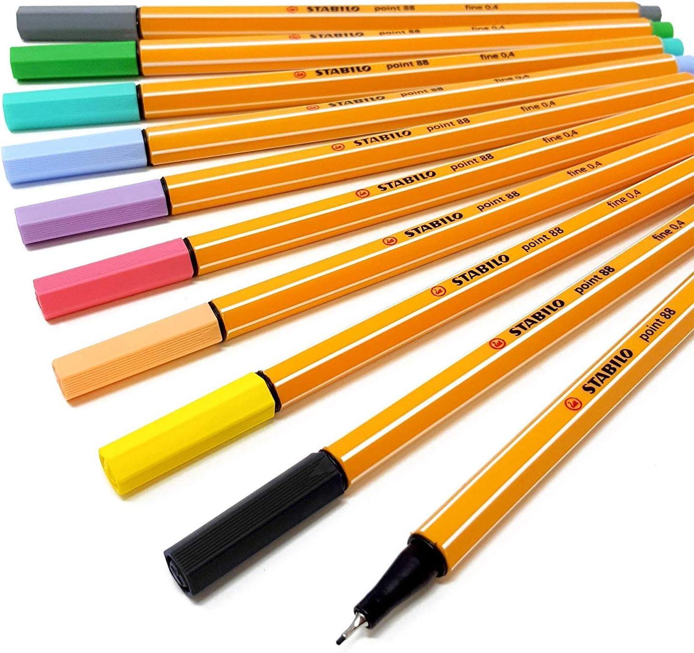 STABILO point 88 - Juego de 8 rotuladores de punta fina en colores pastel y 2 de color negro (88/8-01): Amazon.es: Oficina y papelería