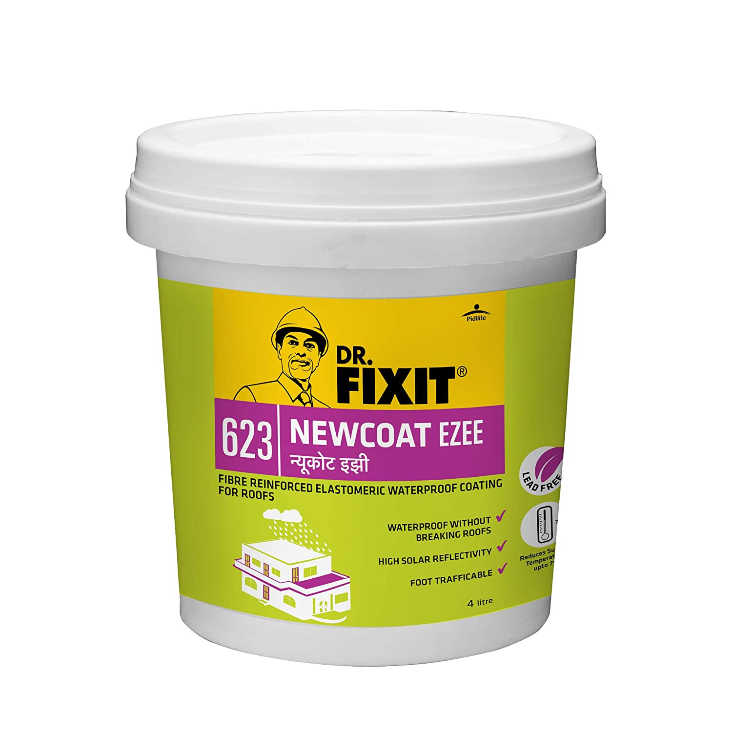 Dr Fixit 623 Newcoat Ezee Waterproof Coating For Roofs 4 Litre Amazon In Industrial Scientific