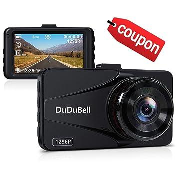 DuDuBell 1296P 2K Cámara de salpicadero de coche grabadora de vídeo Super HD DVR 170°