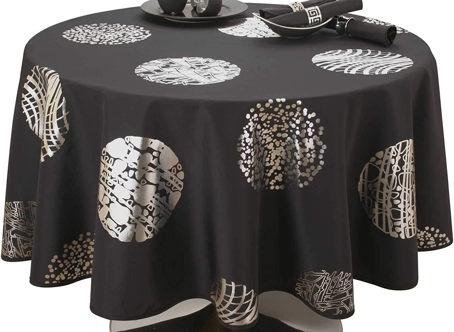 Easy care Cosmos Dark grey Tablecloth Rectangular 60x138 inch