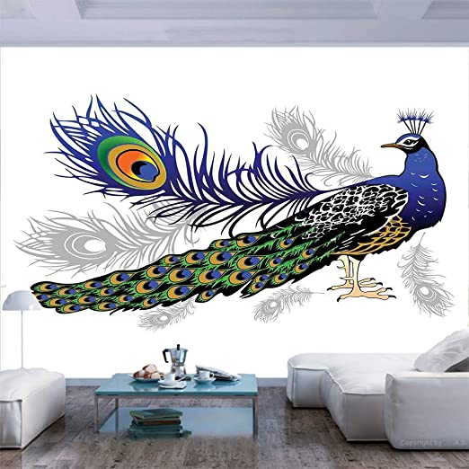 Amazon Com 77x55 Inches Wall Mural Male Peacock Feathers Springtime Wilderness Crowned Majestic Animal Pattern Decorative Peel And Stick Self Adhesive Wallpaper Removable Large Wall Sticker Wall Decor For Home O Home Kitchen