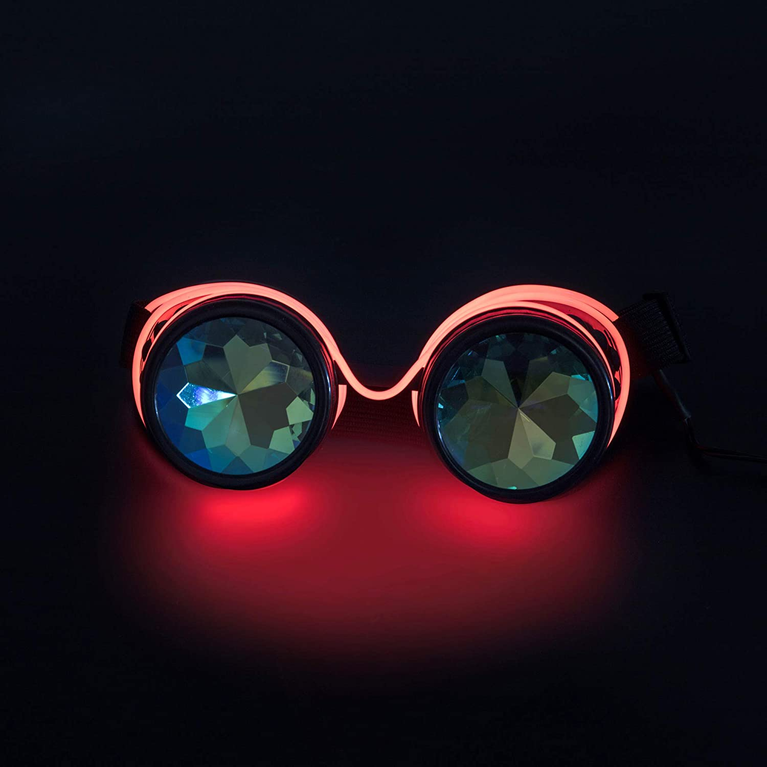 FOCUSSEXY Kaleidoscope Glasses Rave Crystal Prism Steampunk Goggle Fashion