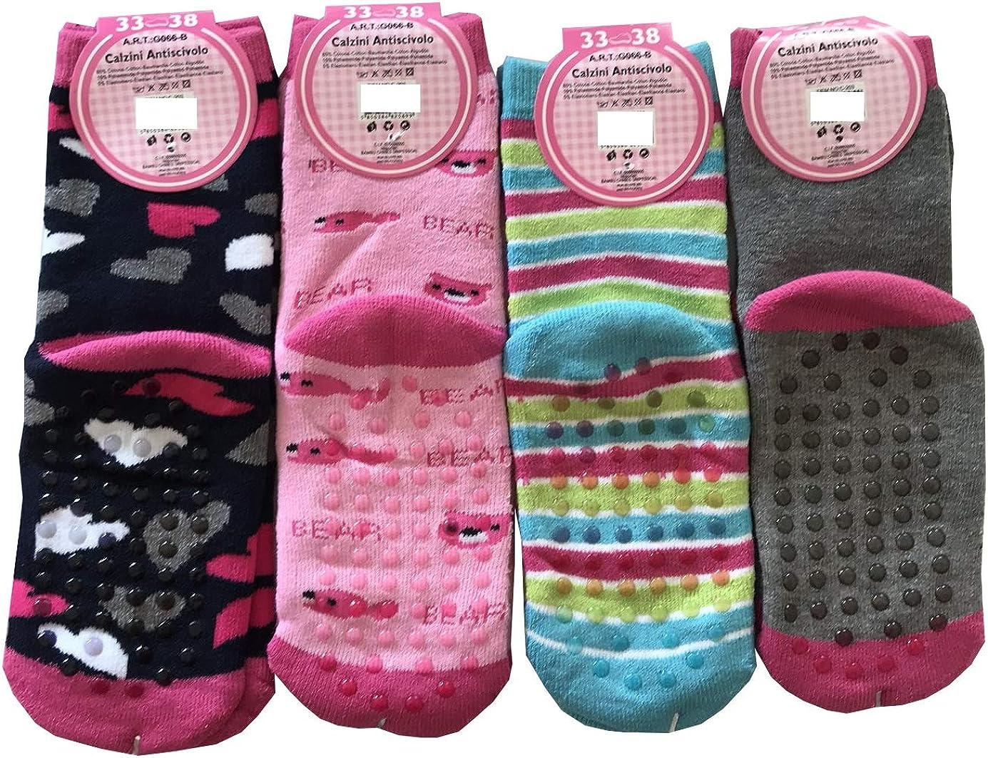 suaves Ruinur c/álidos y originales de colores 4 pares de calcetines antideslizantes para ni/ña