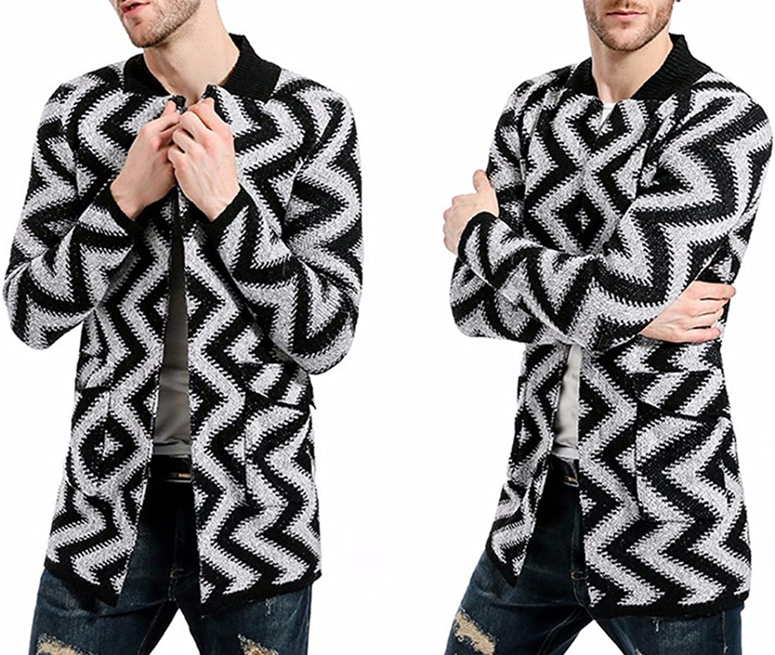 Paixpays Mens Winter Wave Striped Wool Blend Pea Coat Long Cardigan Sweater