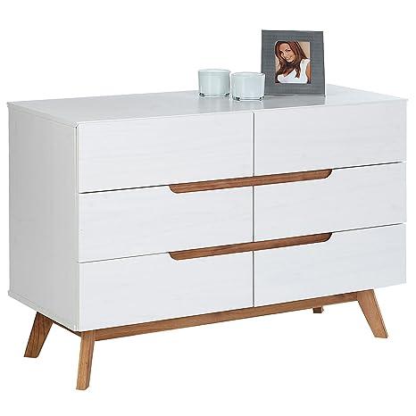 IDIMEX Kommode Schubladenkommode Tibor in nordischen Design, Sideboard  Anrichte mit 6 Schubladen im skandinavischen Design, Kiefer massiv, weiß ...