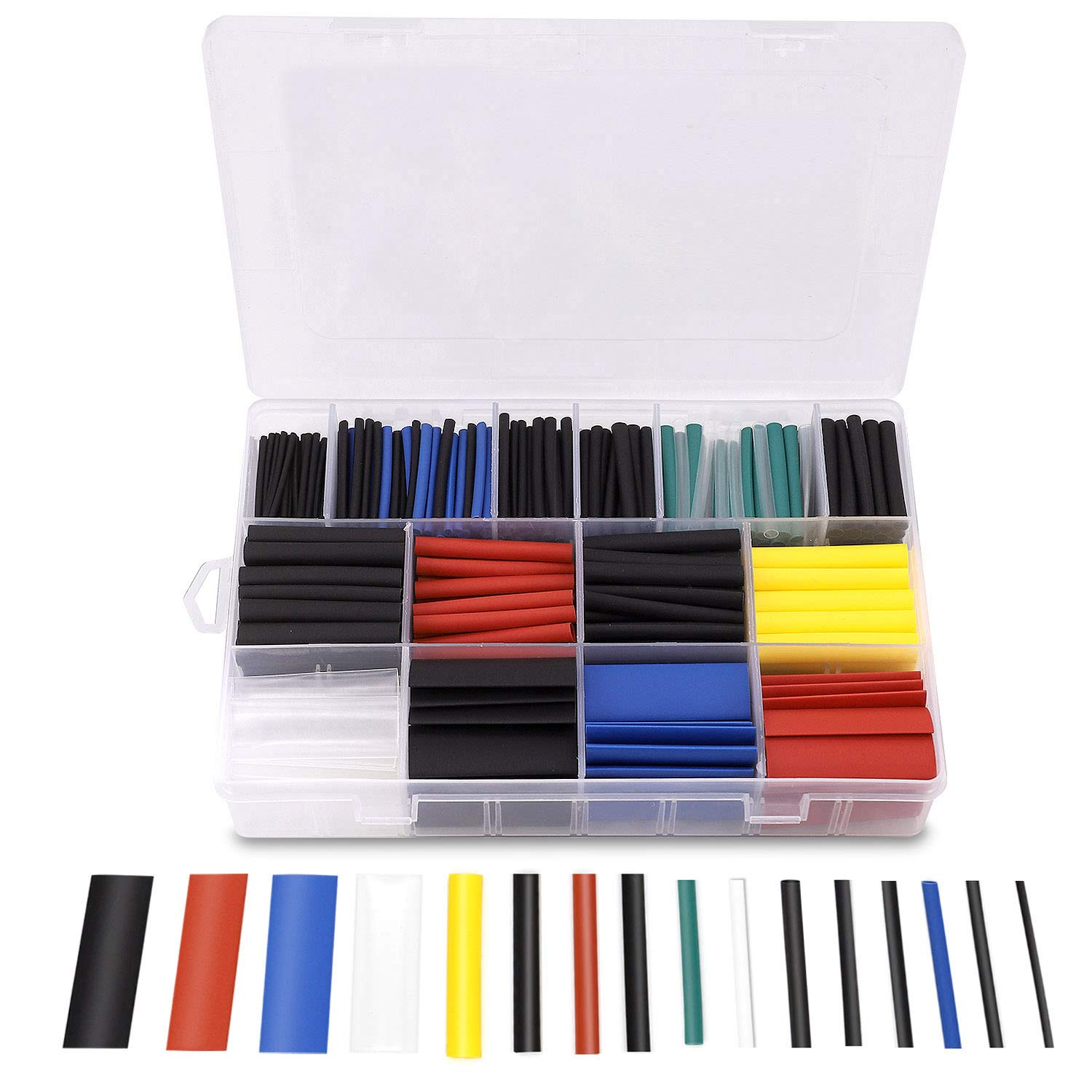 Gaine Thermor/étractable 6 Couleurs 11 Tailles Ratio 2:1 580 Pcs Tube Thermor/étractable 1-10mm Kit