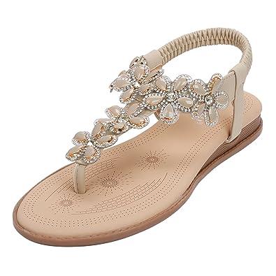6b73aafa407a SANMIO Damen Sommer Flach Sandalen, Frauen Bohemian Strass Sandals  Sommerschuhe PU Leder Elastischen Strand Schuhe