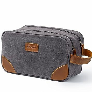 52b549f1c2 Mens Canvas Toiletry Bag Travel Bathroom Shaving Dopp Kit with Double  Compartments  Amazon.ca  Beauty