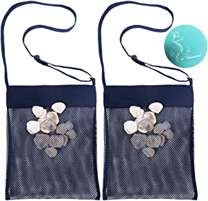 Rimobul Sand Away Beach Treasures Seashell Pocket Mesh Bags - Set of 2 (Large) (Navy Blue)