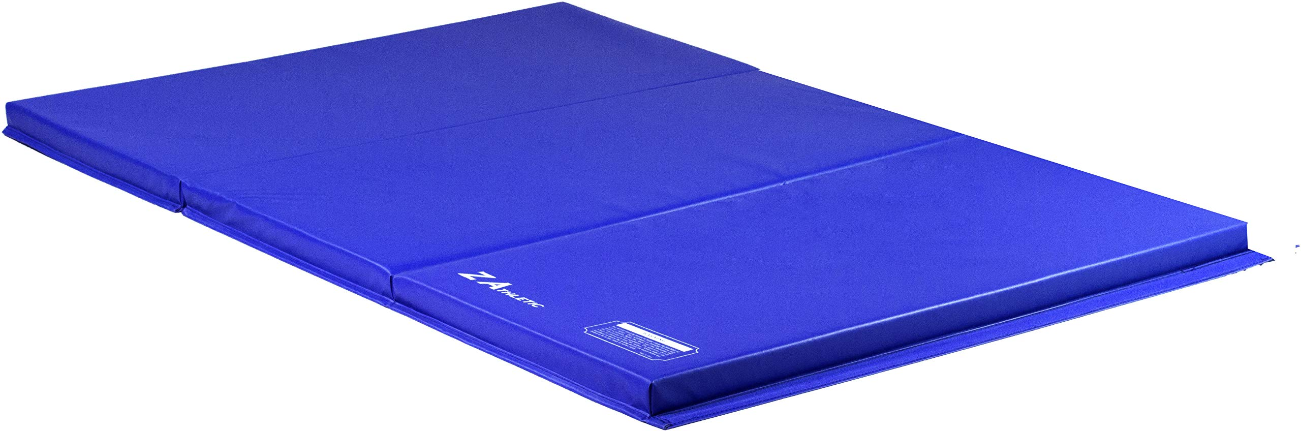 Z-Athletic Folding Panel Mats for Gymnastics, Martial Arts, Tumbling (4ft x 6ft x 2in, Blue)