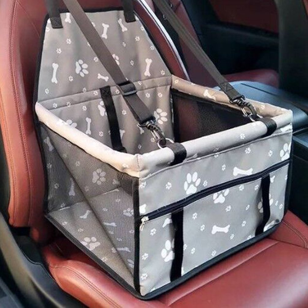 Upworld Pet Dog Car Booster Seat Carrier, Dog Puppy Cat Travel Safety Seat Carrier with Dog Seat Belt,Foldable Portable and Waterproof Non-Slip for Dog Cat up to 25lbs (Grey)