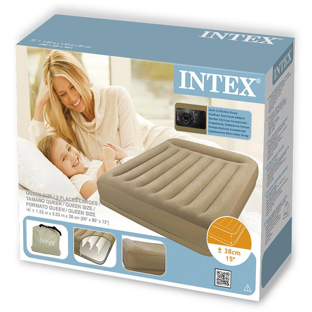 INTEX Pillow Restmid - Cama de aire, 152 x 203 x 38 cm, con bomba 220-240 V: Amazon.es: Deportes y aire libre