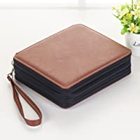 120 Slots Pencil Cosmetic Bag, Waterproof PU Leather Multi-Layers Large Capacity Drawing Pen Holder Sketch Pencil Case Makeup Organizer for School Students Art Supplies Storage Pouch
