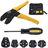 Toprema Crimping Tool Kit Ratchet Terminal Connector Plier Crimper 5 Interchangeable Die Sets Insulated Non-insulated…