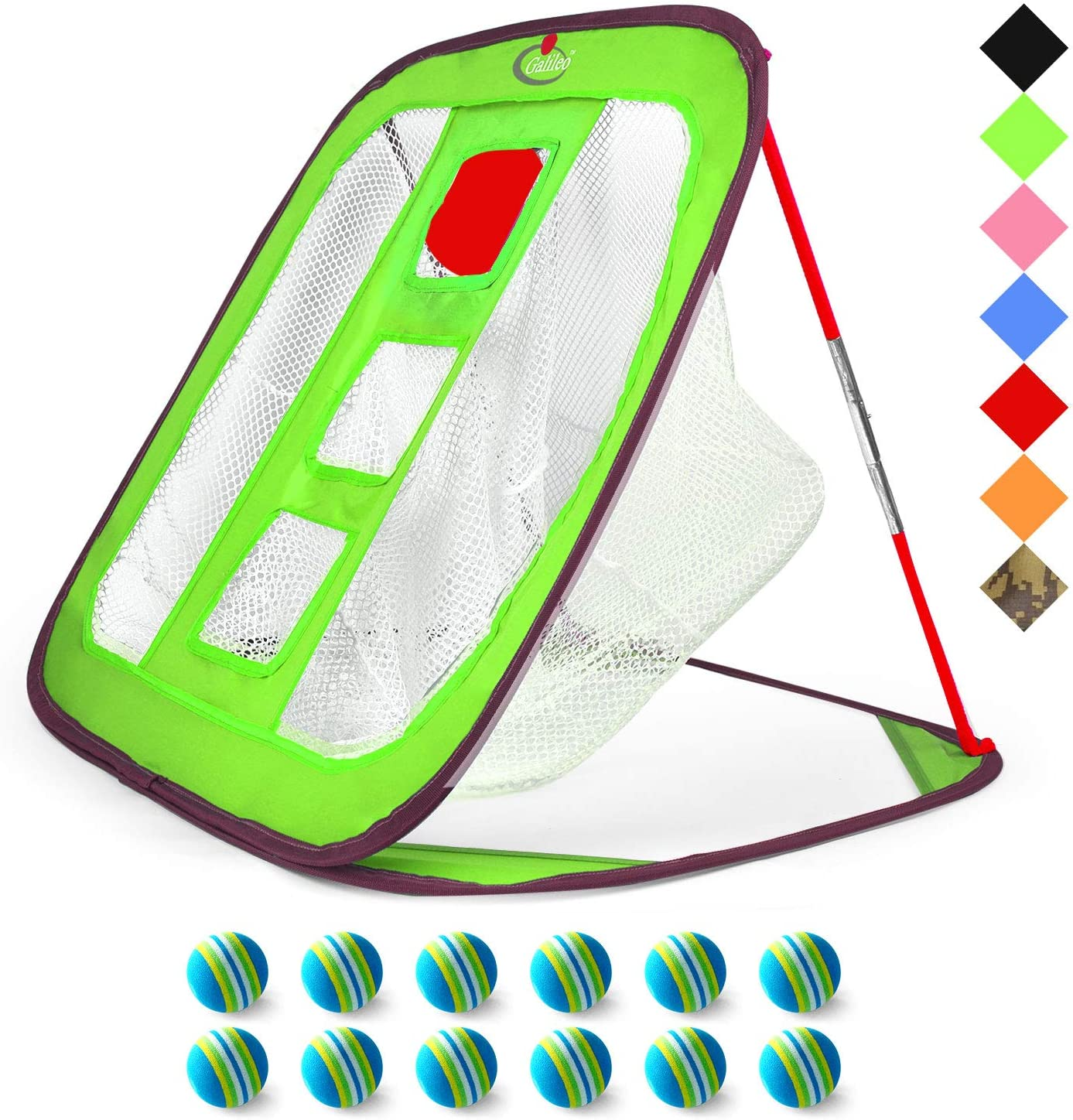 Galileo Pop Up Golf Chipping Net Practice Nets Training Square Chipping Golf Hitting Aid 3-Target Hole with Foam Training Balls 12pack
