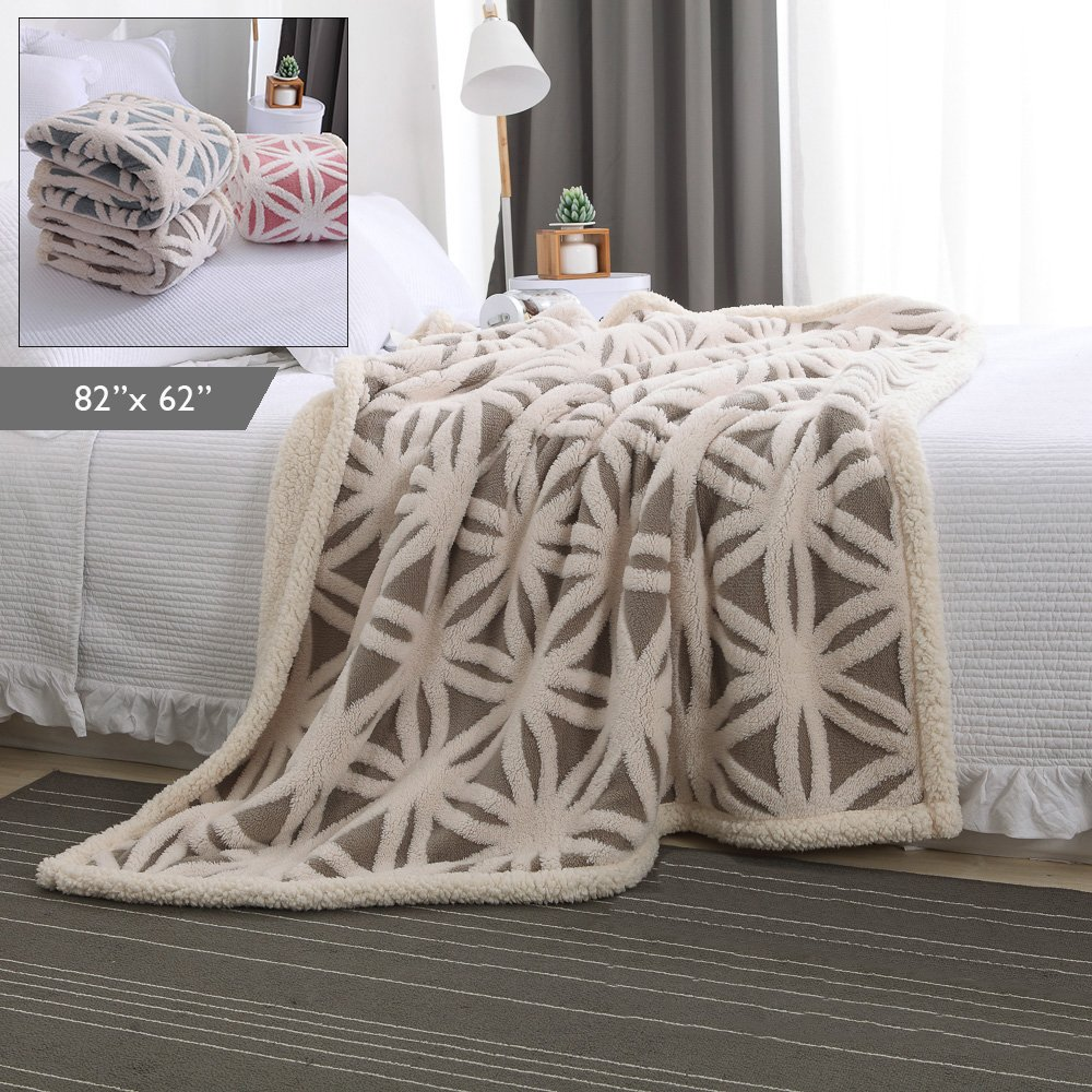 """Plush Throw Blanket –Super-Soft Shu Velveteen/Sherpa Throw Blanket for Bed/Couch/Sofa & Decorative -Ivory/Gray 82"""" X 62"""" (Two Layer Construction)"""