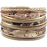 GelConnie Feather Leather Cuff Bracelet Magnetic Multi Strand Bracelet Wrap Bracelet Bohemian Jewelry Gifts for Women, Wife,