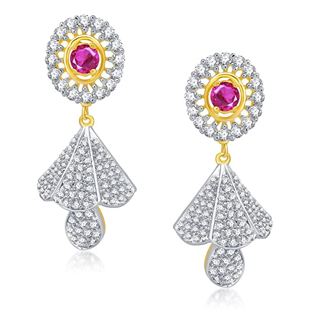 VK Jewels Ruby Beaded Gold And Rhodium Plated Alloy Jhumki Earrings for Women & Girls made with Cubic Zirconia -ER1115G [VKER1115G] Earrings at amazon