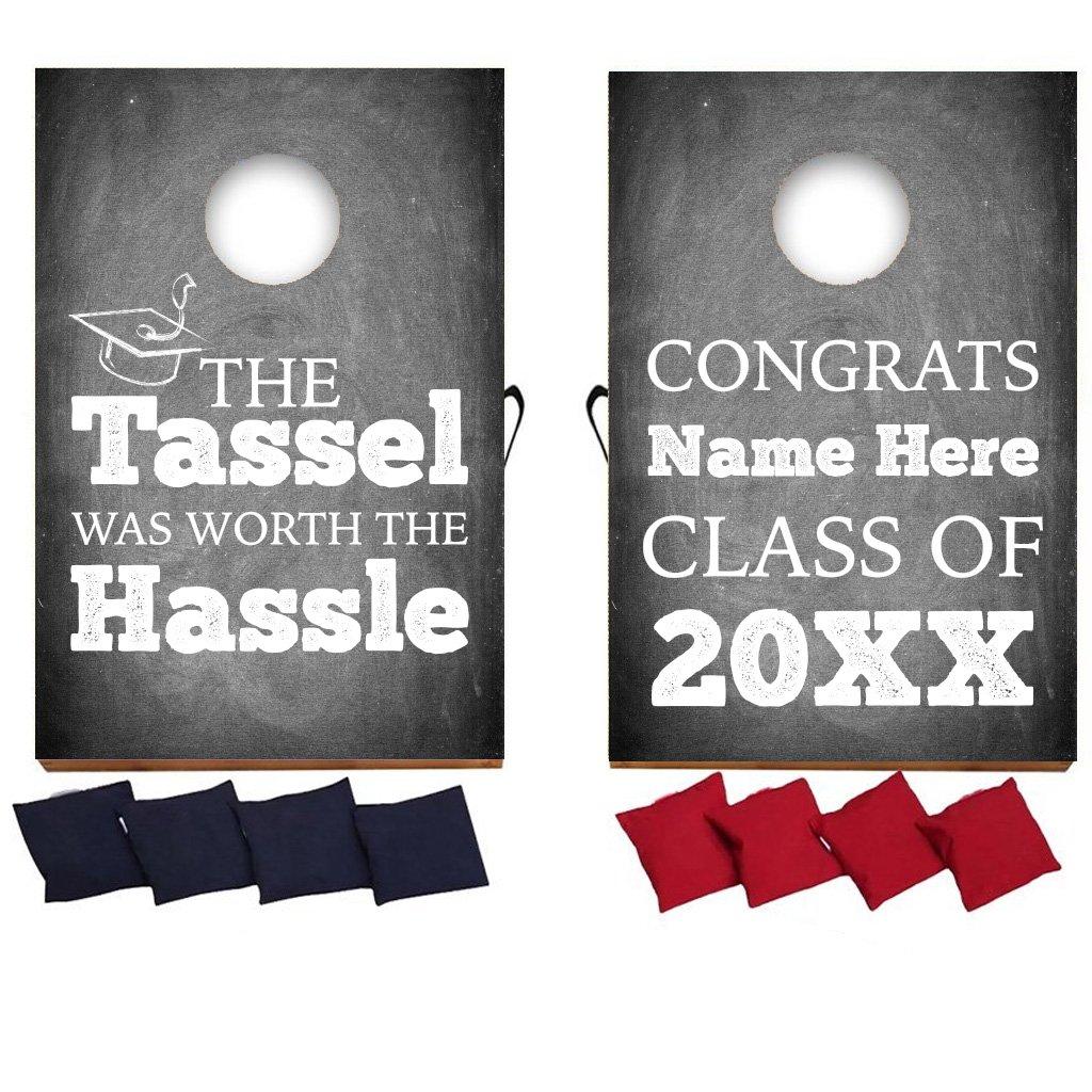 VictoryStore Custom Graduation Bag Toss Game - Custom Graduation Cornhole - Chalkboard Design - The Tassel was Worth The Hassle by VictoryStore (Image #1)
