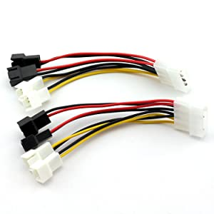 ZRM&E 2pcs 1 to 4 PC Fan Speed Regulation Cable D Type Large 4Pin IDE Male Port to 4 3Pin 12V/5V Fan Power Male Ports CPU/Case Cooling Fan Connector Power Extension Cable 12cm