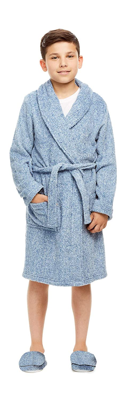 Boys Sleep Robe with Matching Slippers | Cationic Plush Denim Bathrobe