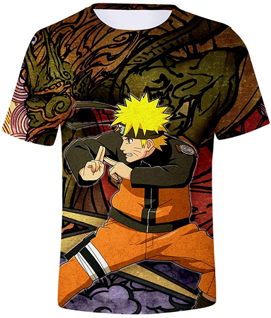 Bettydom Boys Novelty T-Shirts 3D Printed Tees with The Japanese Anime Naruto T-Shirts for Teens