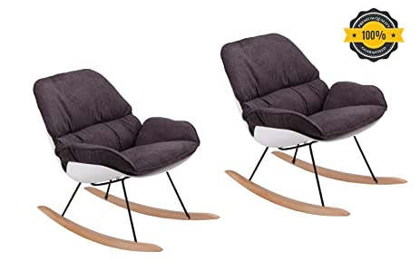 Modern Rocking Chair Set Of 2   Leisure Lounge Wood Accent Living Room Chair  With Rebar