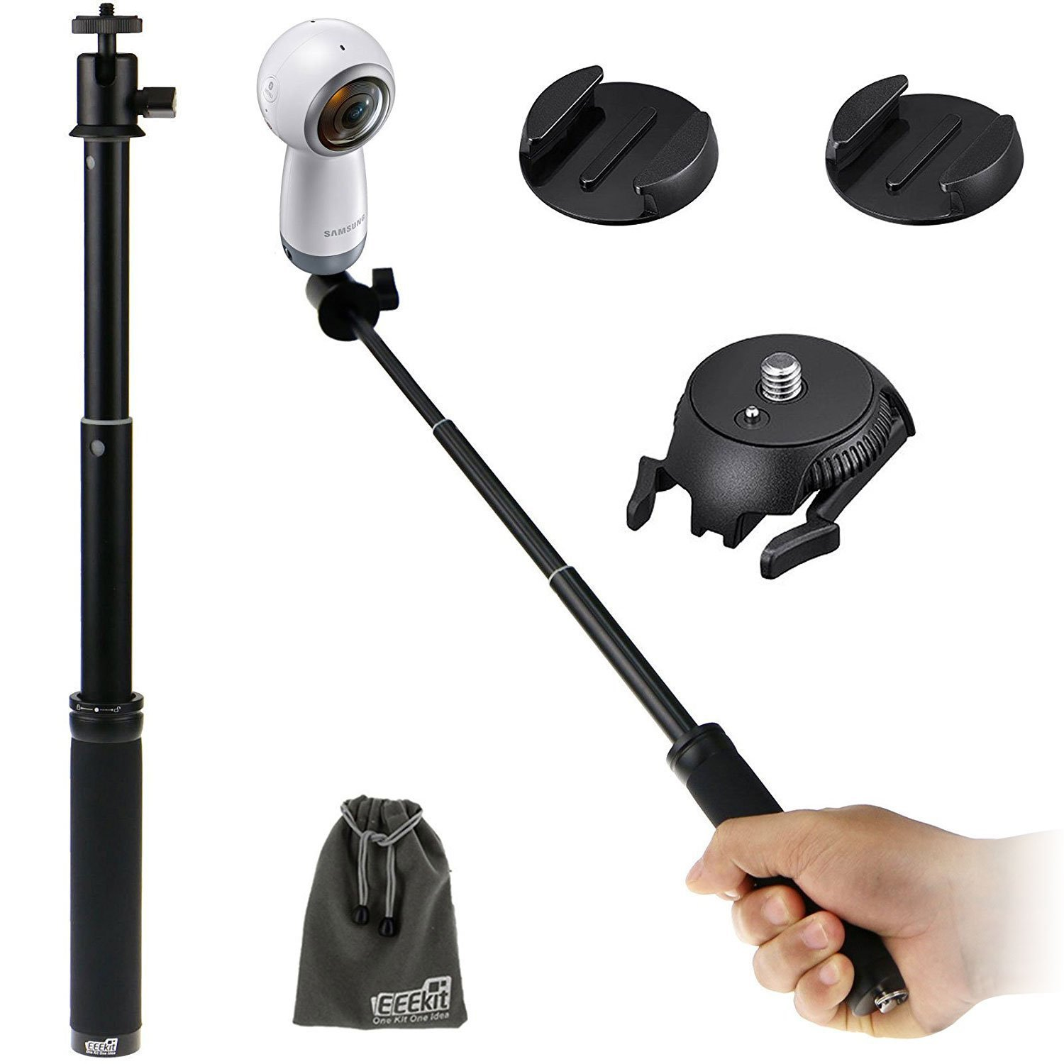 EEEKit 2in1 Selfie Kit for Samsung Gear 360/Gear 360 2017 Edition/Garmin Virb 360/Banne/360fly 360 VR Camera, Adjustable Selfie Stick Monopod + Adhesive Quick Release Flat + Curved Mount Adapter
