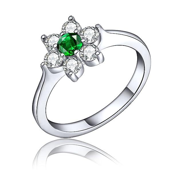 YH Jewelry Anillo de la flor de la esmeralda de la plata esterlina 925 con el oro blanco plateado, gran regalo para las mujeres de corazón a corazón: ...