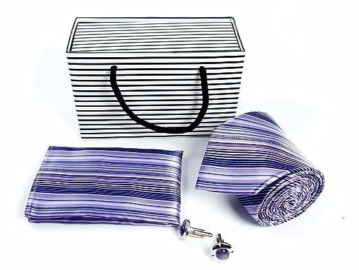 Blanco y Morado diseño de rayas azul claro Diagonal corbata a ...