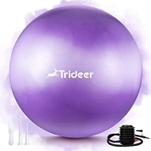 Trideer Newest Exercise Ball, Yoga Ball for Home Gym & DeskChair - Fitness, Yoga & Physical Therapy, with Quick Pump [ Sweet Series, 55cm & 65 cm ]