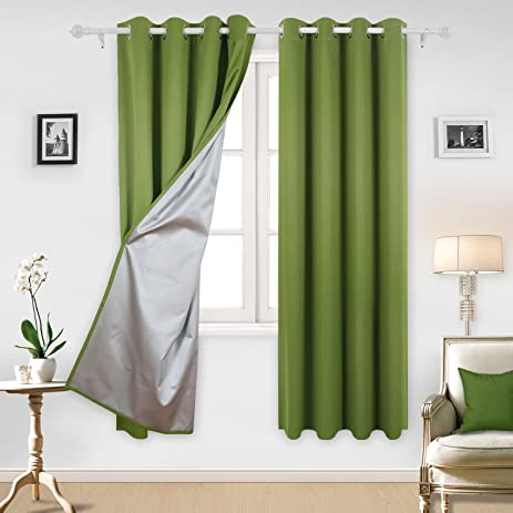 Deconovo Blackout Curtains With Silver Coating Thermal Insulated Kitchen  Curtains For Boys Room 52 By 84