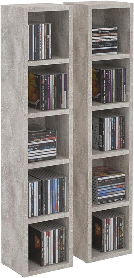 Estantería de columna modular y apilable para CD y DVD, de tableros de madera densidad media MDF de color hormigón, modelo Musique