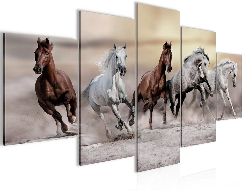 Cuadro de pared de caballos de fieltro – Lienzo XXL Formato de pared pared pared pared salón decoración arte impresión marrón 5 piezas – Fabricado en Alemania – listo para colgar 014153a