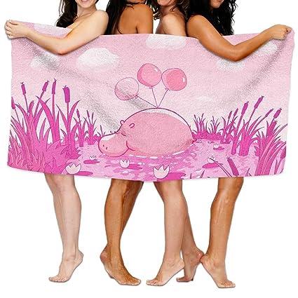 Rosa hipopótamo toalla de playa toallas de ducha de poliéster unisex super absorbente toallas de playa