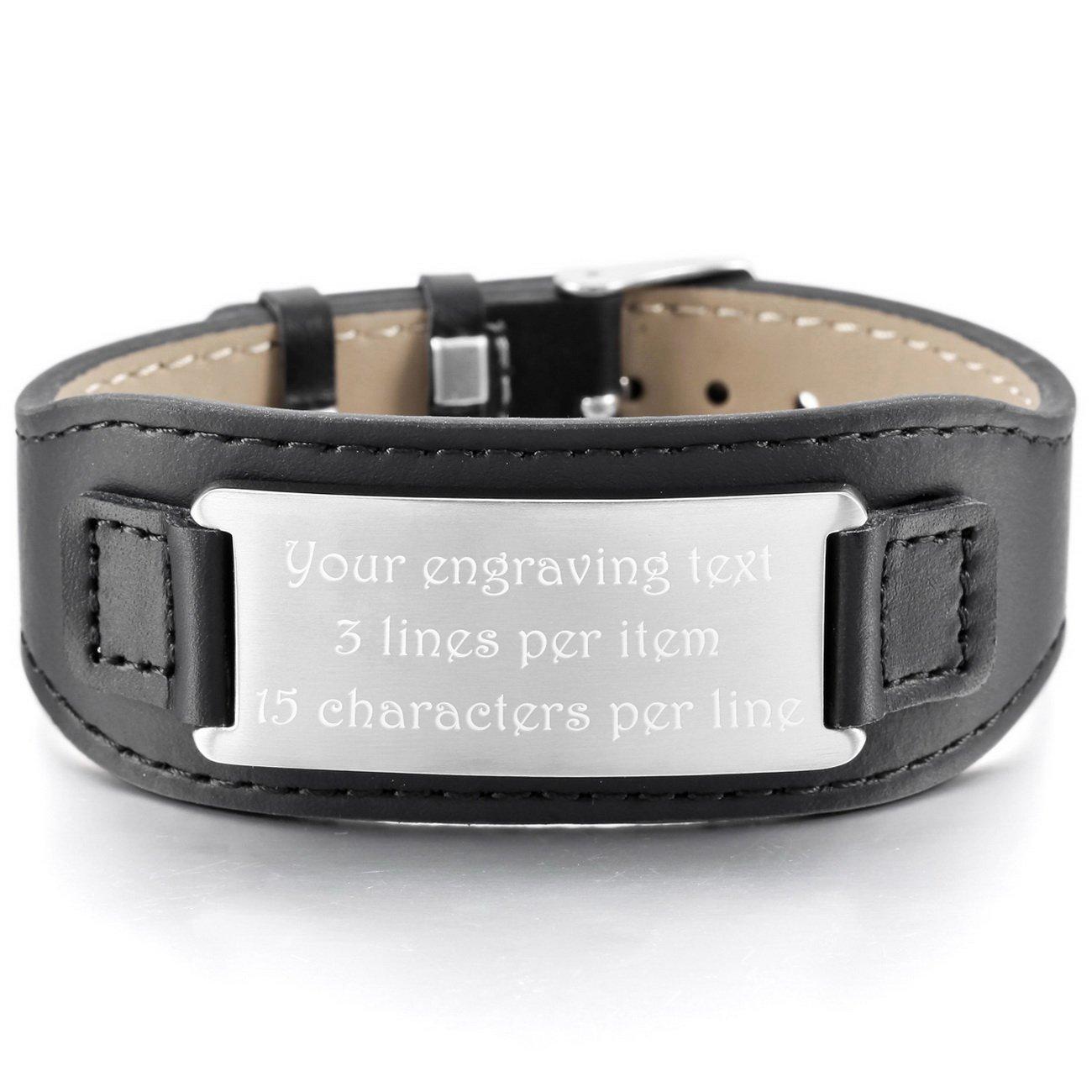 MeMeDIY Stainless Steel Genuine Leather Bracelet Bangle Cuff Adjustable - Customized Engraving us3020047-1