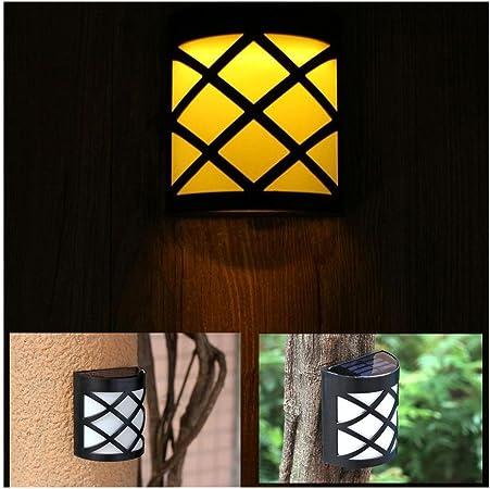 Hulorry - Lámpara LED de 6 focos para valla de exterior, impermeable, IP44, LED, luz solar, decoración de jardín al aire libre, lámpara solar para jardín, patio y camino: Amazon.es: Hogar
