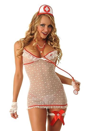 60eb1f3a8 Amazon.com  Sexy Lingerie Nurse Costume Set for Women 3106a  Clothing