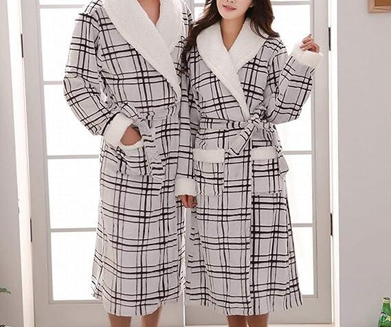 62860d6c39 CWJ Pijamas - otoño e Invierno Franela Amantes camisón Engrosamiento más  Largos Albornoces Calientes Coral vellón Hombres y Mujeres Albornoces  cálido y ...