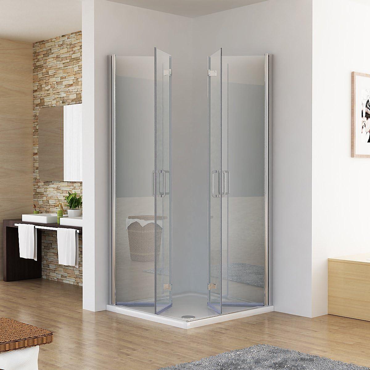 90x75x197cm // ohne Duschtasse Duschkabine Eckeinstieg Dusche Faltt/ür 180/º Duschwand Duschabtrennung NANO Glas