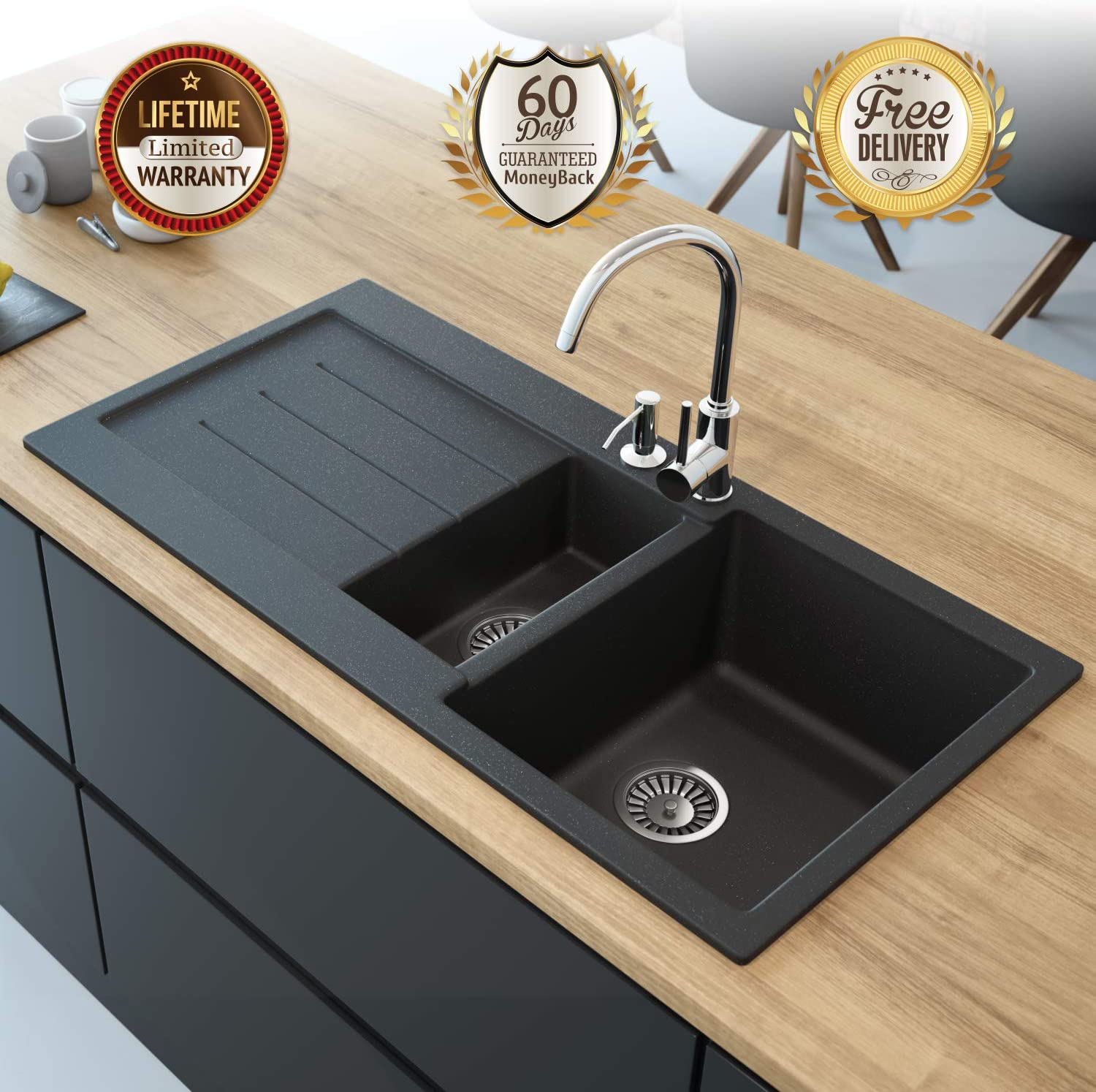 Black Kitchen Sink Lavello Decoro 150LT 39\
